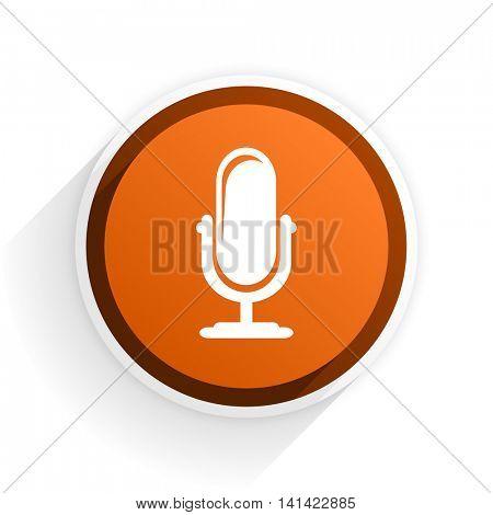 microphone flat icon with shadow on white background, orange modern design web element