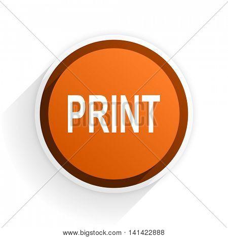 print flat icon with shadow on white background, orange modern design web element