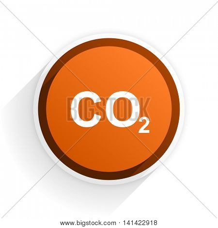 carbon dioxide flat icon with shadow on white background, orange modern design web element