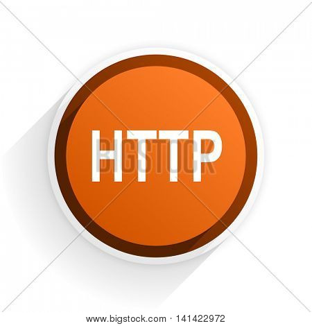 http flat icon with shadow on white background, orange modern design web element
