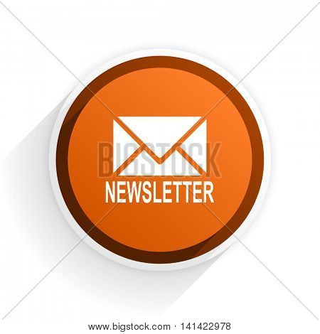 newsletter flat icon with shadow on white background, orange modern design web element
