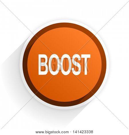 boost flat icon with shadow on white background, orange modern design web element