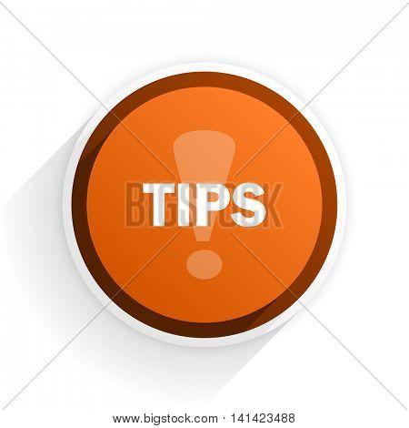 tips flat icon with shadow on white background, orange modern design web element