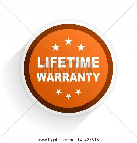 lifetime warranty flat icon with shadow on white background, orange modern design web element