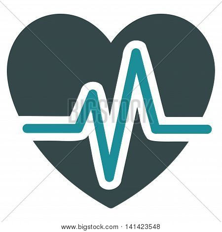 Heart Diagram vector icon. Style is bicolor flat symbol, soft blue colors, rounded angles, white background.