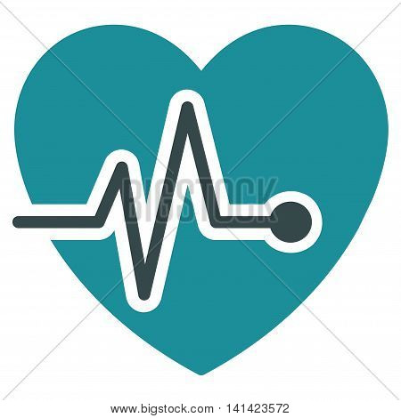 Heart Pulse vector icon. Style is bicolor flat symbol, soft blue colors, rounded angles, white background.