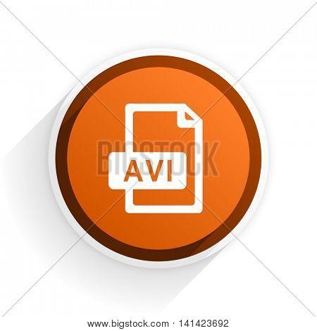 avi file flat icon with shadow on white background, orange modern design web element