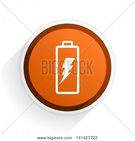 battery flat icon with shadow on white background, orange modern design web element