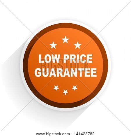 low price guarantee flat icon with shadow on white background, orange modern design web element