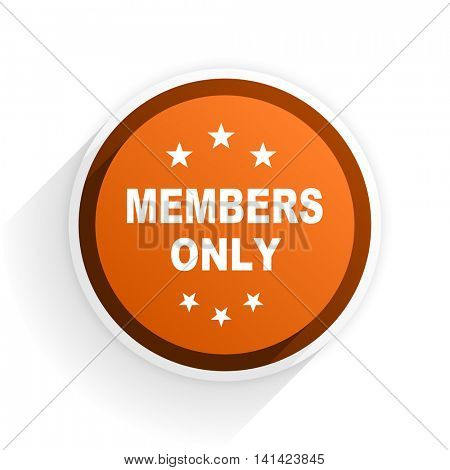 members only flat icon with shadow on white background, orange modern design web element
