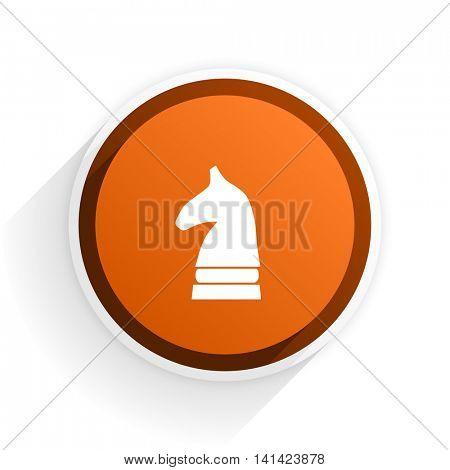 chess horse flat icon with shadow on white background, orange modern design web element
