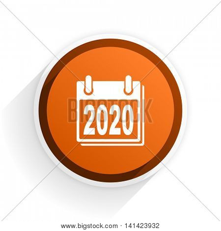 new year 2020 flat icon with shadow on white background, orange modern design web element