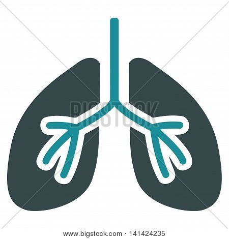 Lungs vector icon. Style is bicolor flat symbol, soft blue colors, rounded angles, white background.