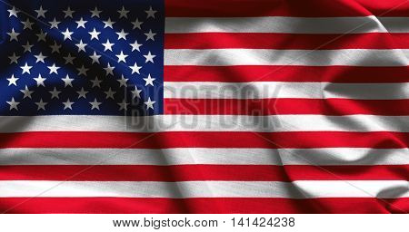 USA flag background - ocean rocks and water splashes