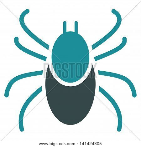 Mite vector icon. Style is bicolor flat symbol, soft blue colors, rounded angles, white background.
