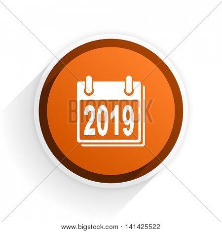 new year 2019 flat icon with shadow on white background, orange modern design web element