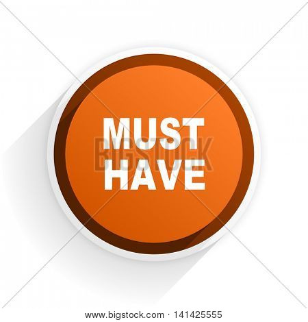 must have flat icon with shadow on white background, orange modern design web element