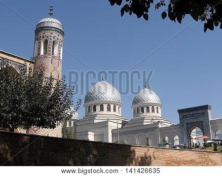 Minaret of Kukeldash Madrassah and Juma Mosque in Tashkent Uzbekistan