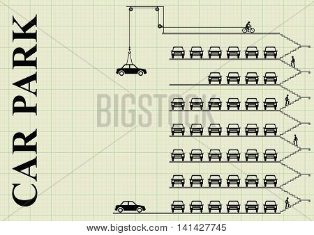 Representation of cars parked in a milti storey car park on graph paper background with  copy space for own text