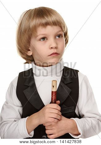 Cute little boy with wood fife. Preschooler. on white background