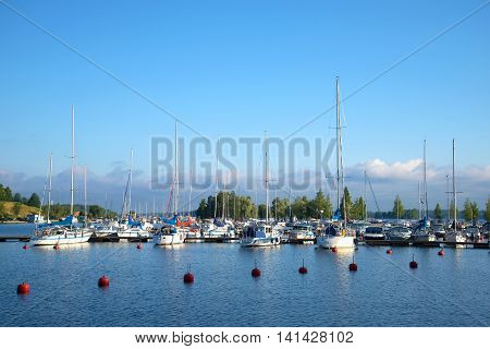 LAPPEENRANTA, FINLAND - AUGUST 09, 2015: Early august morning on the Saimaa lake. Tourist landmark of the city Lappeenranta, Finland