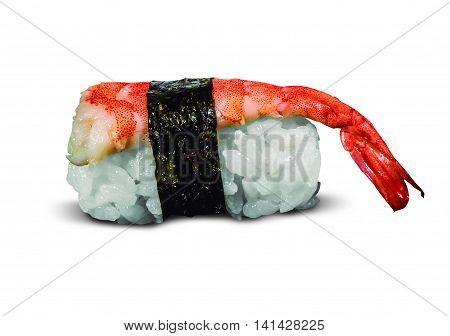 single served Shrimp nigiri sushi isolated on white background