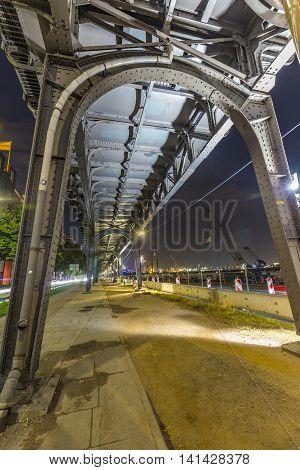 Famous Elevated Train Near Landungsbruecken By Night