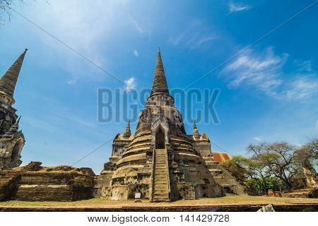 Pagoda Of Old Temple At Ayuthaya Province