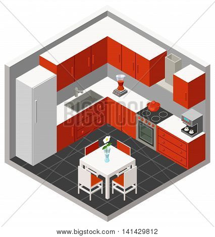 Vector illustration isometric red kitchen with furniture