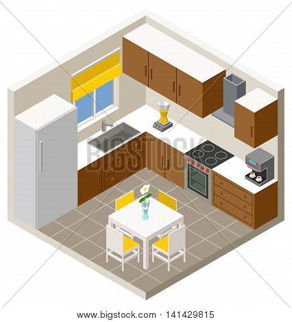 Vector illustration  isometric kitchen with furniture .