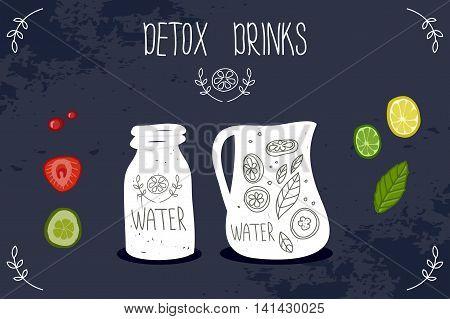 Healthy life detox drink . Vector illustration
