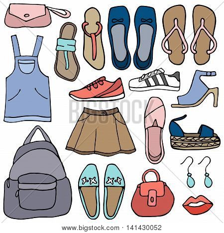 Clothes and shoes vector doodle on the white background