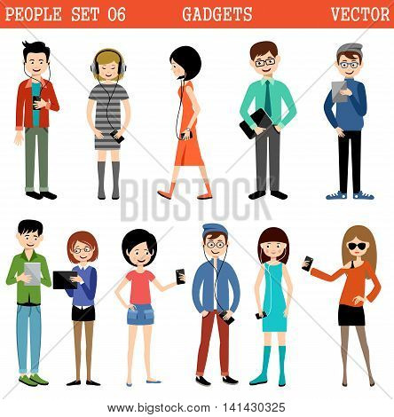Set of people with gadgets listening to music working and communicating on the Internet. Vector illustration