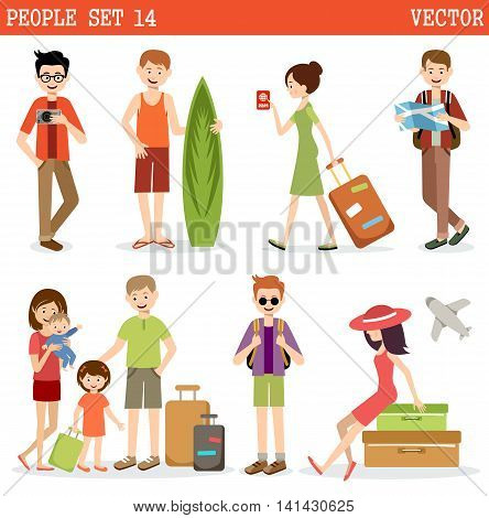 People go to holiday travel. Vector illustration