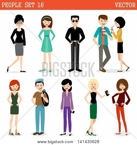 Set of modern people men and women. Street style. Vector illustration