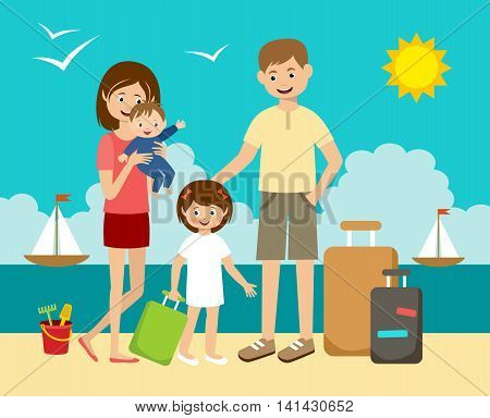 The family has arrived to holiday on the beach and sea. Vector illustration