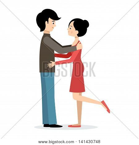 Vector illustration loving couple. Man and woman .