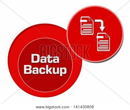 Data backup concept image with text and related graphics. `
