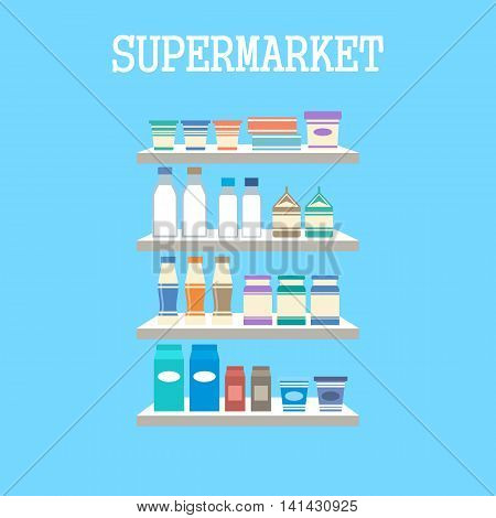 Shelfs with products on a blue background. Vector