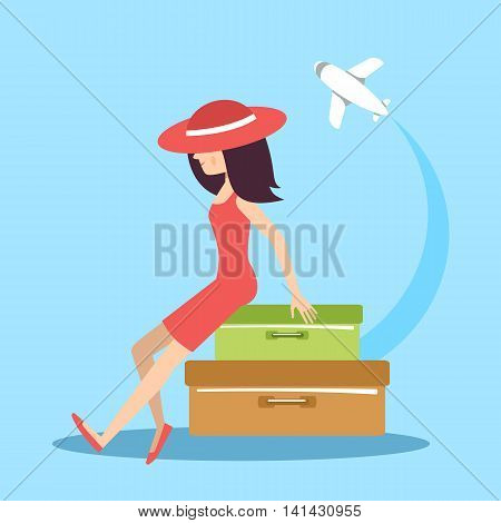 The woman with suitcases on the blue background. Vector