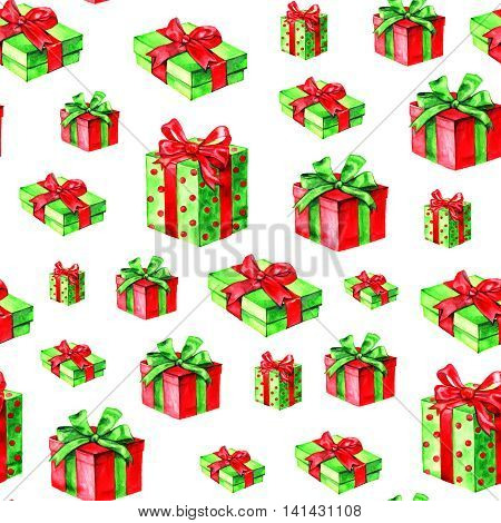 christmas seamless pattern. Hand drawn watercolor gift boxes.