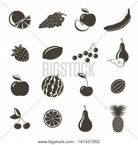 Different fruits icons on a white background. Vector illustration