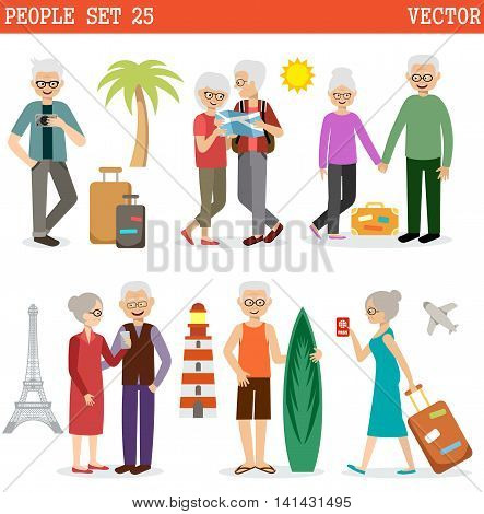 Elderly people travel all over the world and have a rest. Vector illustration
