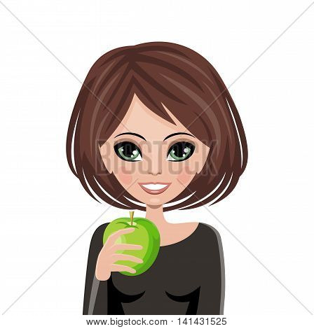 Smiling woman with apple. Vector illustration .