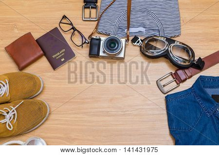 Flat Lay Item Of Traveller Overhead View Man Accessories