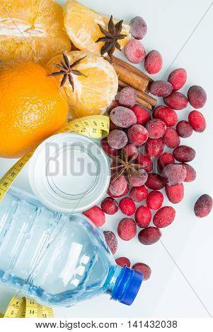 drinking water with fruits and frozen berries