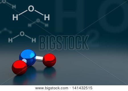 Water Or H2O Molecule Background, 3D Rendering