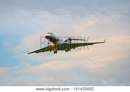 SAINT PETERSBURG, RUSSIA - JULY 03, 2016: The Bombardier BD-700-1A11 Global 5000 M-KBSD) before landing in Pulkovo airport