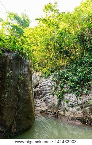 Wang Sao Thong waterfall drained during summer Koh Samui Thailand