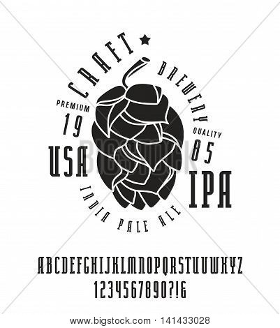 Narrow serif font and craft brewery label. Bold face. Black print on white background